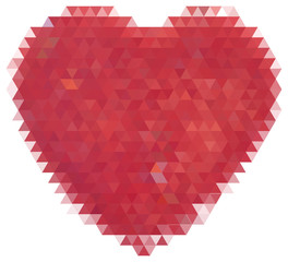 red heart from triangles isolated on white