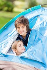 Happy Siblings In Tent