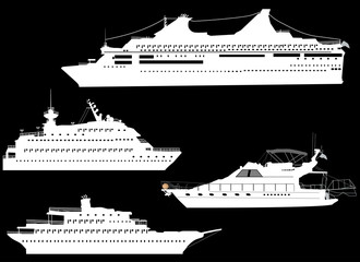 four ship silhouettes isolated on black