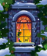 Winter window and spruce