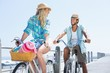 Cute couple on a bike ride - 78034135
