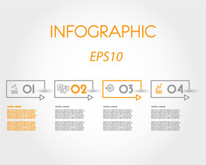 rectangular linear infographic with four steps