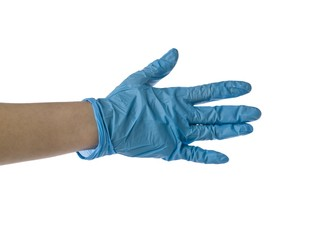 blue nitrile medical glove