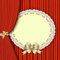 background with red drapery and elegant blank postcard