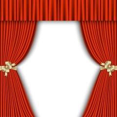 red curtain with a white background
