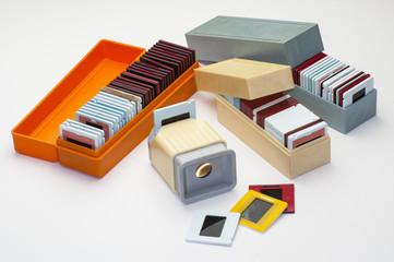 Советские пластиковые коробки для хранения слайдов и диаскоп