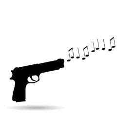 Vector silhouette of a gun.