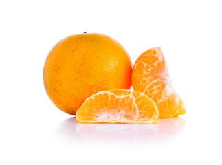 Ripe tangerine or mandarin isolated