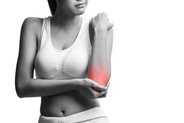 woman with pain in elbow,isolated on white with clipping path