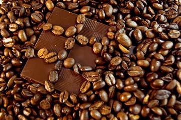 coffee, chocolate bar