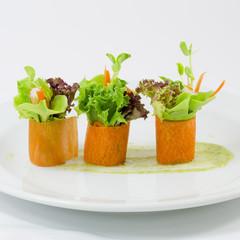 Finger food carrot salad roll