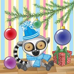 Lemur under the tree