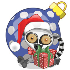 Lemur in a Santa hat