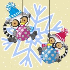 Two Lemurs in a hat