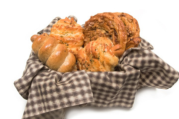 Variety of bread in basket