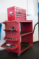 Close up of tool in red drawers
