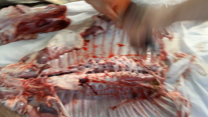 Butcher cutting back part of lamb on the table