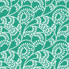 Vector green floral seamless pattern with shadow