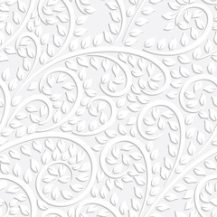 Vector white floral seamless pattern with shadow