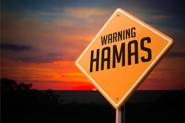 Hamas on Warning Road Sign.