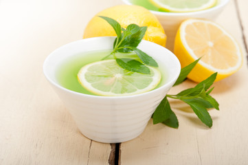 mint infusion tea tisane with lemon