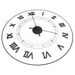 An isolated clock with Roman numerals. Time - four o'clock