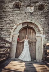 Beautiful bride standing or posing on doors