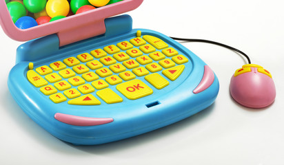 Close up Plastic Computer with Mouse Toy