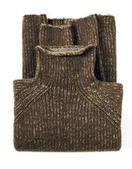 Dark Brown Turtleneck Sweater on White Background