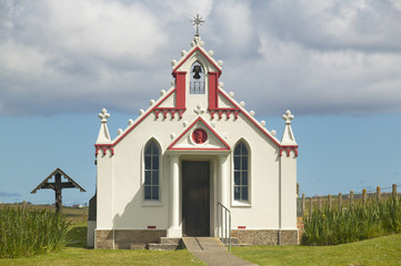 Lamb Holm chapel facade in Orkney. Scotland. UK