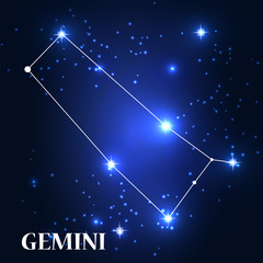 Symbol: Gemini Zodiac Sign. Vector Illustration.
