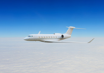 Private jet above the clouds