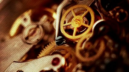 Wrist watch mechanism close up
