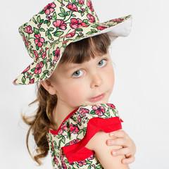 Portrait of preschooler girl in summer hat