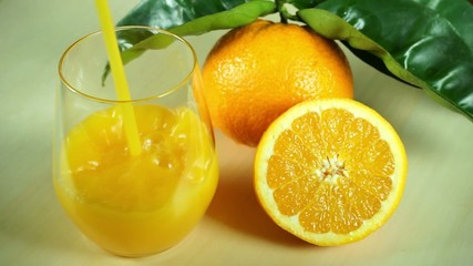 Orange juice with orange fruits