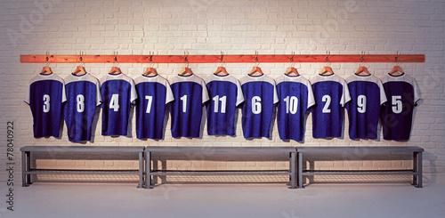 Leinwandbild Motiv Blue and white Football shirts
