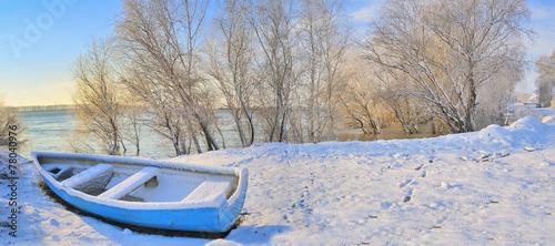 blue boat on danube river - 78040976
