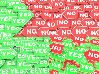 Yes-No Concept on Direction Arrows.