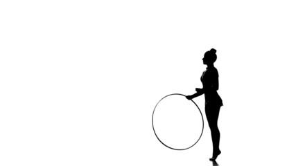 Silhouettes Rhythmic Gymnastics with hula hoop on silhouette