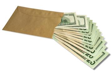 Dollars in an envelope