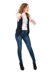 Business cheerful girl pointing her finger at the camera