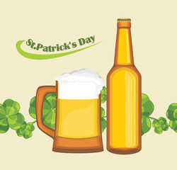 Beer mug and bottle on the background with clover leaves