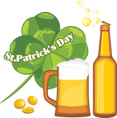 Beer mug and bottle, coins and clover leaf. St. Patrick's Day