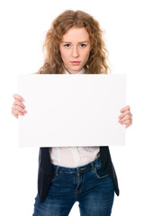 Business woman isolated portrait . Girl show big blank board