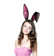 canvas print picture - Beautiful young woman as easter bunny