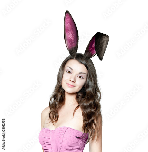 canvas print picture Beautiful young woman as easter bunny