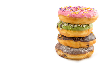various glazed donuts isolate on white background