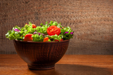 Fresh salade on wooden background