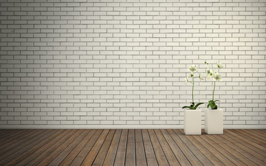 Empty room with brick wall and wooden floor