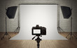 Photo studio light setup with digital camera